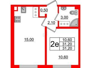 Квартира в ЖК Цветной город, 1 комнатная, 31.2 м², 18 этаж