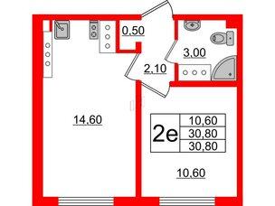 Квартира в ЖК Цветной город, 1 комнатная, 30.8 м², 21 этаж