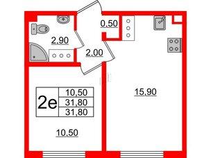 Квартира в ЖК Цветной город, 1 комнатная, 31.8 м², 3 этаж