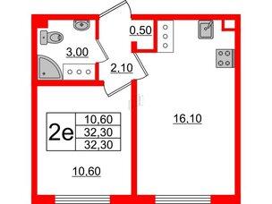 Квартира в ЖК Цветной город, 1 комнатная, 32.3 м², 18 этаж