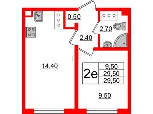 Квартира в ЖК Цветной город, 1 комнатная, 29.5 м², 6 этаж