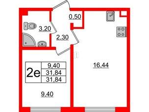 Квартира в ЖК Цветной город, 1 комнатная, 31.84 м², 2 этаж