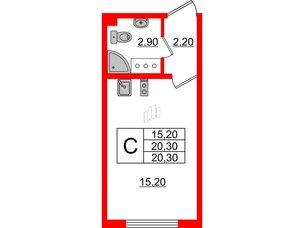 Квартира в ЖК Цветной город, студия, 20.3 м², 3 этаж