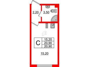Квартира в ЖК Цветной город, студия, 20.9 м², 2 этаж