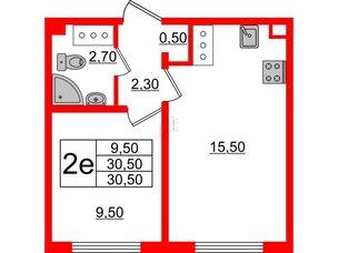 Квартира в ЖК Цветной город, 1 комнатная, 30.5 м², 9 этаж