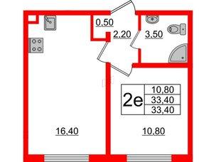 Квартира в ЖК Цветной город, 1 комнатная, 33.4 м², 2 этаж