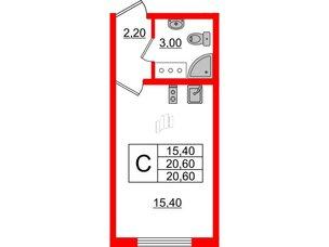 Квартира в ЖК Цветной город, студия, 20.6 м², 18 этаж