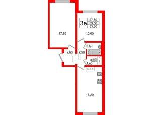 Квартира в ЖК Цветной город, 2 комнатная, 53.5 м², 21 этаж