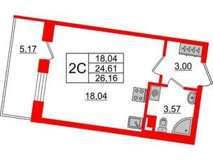 Квартира в ЖК Зеленый квартал на Пулковских высотах, студия, 24.61 м², 1 этаж