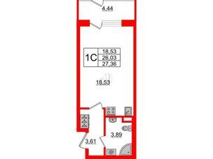 Квартира в ЖК Зеленый квартал на Пулковских высотах, студия, 26.03 м², 1 этаж