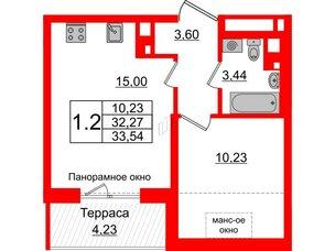 Квартира в ЖК Зеленый квартал на Пулковских высотах, 1 комнатная, 32.27 м², 5 этаж