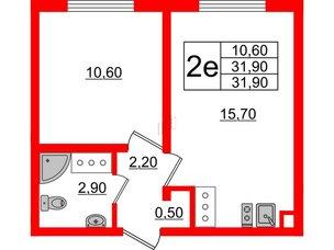 Квартира в ЖК Цветной город, 1 комнатная, 31.9 м², 8 этаж