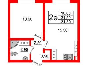Квартира в ЖК Цветной город, 1 комнатная, 31.5 м², 23 этаж