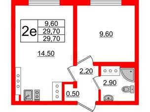 Квартира в ЖК Цветной город, 1 комнатная, 29.7 м², 21 этаж