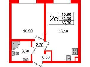 Квартира в ЖК Цветной город, 1 комнатная, 33.3 м², 2 этаж