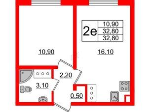 Квартира в ЖК Цветной город, 1 комнатная, 32.8 м², 5 этаж