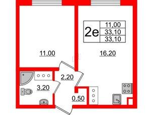Квартира в ЖК Цветной город, 1 комнатная, 33.1 м², 17 этаж