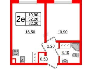 Квартира в ЖК Цветной город, 1 комнатная, 32.2 м², 2 этаж
