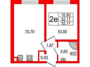 Квартира в ЖК Цветной город, 1 комнатная, 32.17 м², 1 этаж