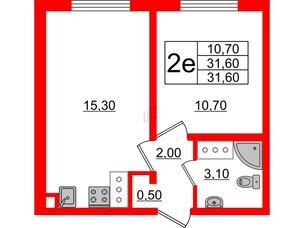 Квартира в ЖК Цветной город, 1 комнатная, 31.6 м², 17 этаж