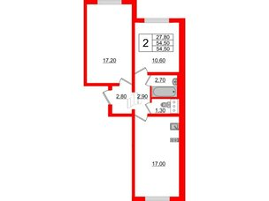 Квартира в ЖК Цветной город, 2 комнатная, 54.5 м², 8 этаж