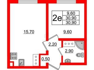 Квартира в ЖК Цветной город, 1 комнатная, 30.9 м², 23 этаж