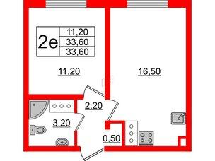 Квартира в ЖК Цветной город, 1 комнатная, 33.6 м², 20 этаж