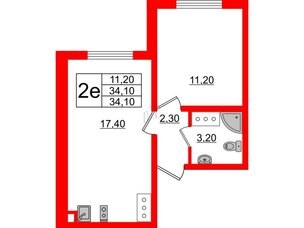 Квартира в ЖК Цветной город, 1 комнатная, 34.1 м², 20 этаж