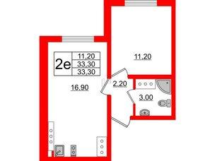 Квартира в ЖК Цветной город, 1 комнатная, 33.3 м², 23 этаж