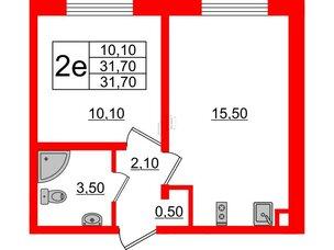 Квартира в ЖК Цветной город, 1 комнатная, 31.7 м², 1 этаж