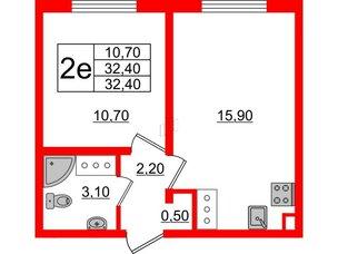 Квартира в ЖК Цветной город, 1 комнатная, 32.4 м², 2 этаж