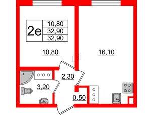 Квартира в ЖК Цветной город, 1 комнатная, 32.9 м², 23 этаж