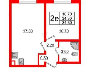 Квартира в ЖК Цветной город, 1 комнатная, 34.3 м², 2 этаж