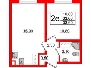 Квартира в ЖК Цветной город, 1 комнатная, 33.6 м², 17 этаж