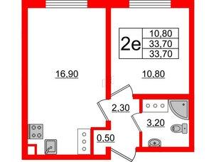 Квартира в ЖК Цветной город, 1 комнатная, 33.7 м², 23 этаж