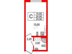 Квартира в ЖК Цветной город, студия, 20.8 м², 23 этаж
