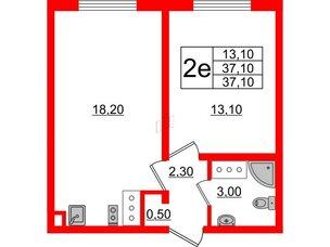 Квартира в ЖК Цветной город, 1 комнатная, 37.1 м², 8 этаж