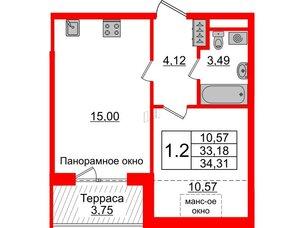 Квартира в ЖК Зеленый квартал на Пулковских высотах, 1 комнатная, 33.18 м², 5 этаж