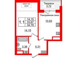 Квартира в ЖК Зеленый квартал на Пулковских высотах, 1 комнатная, 33.67 м², 5 этаж