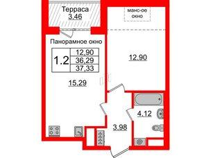 Квартира в ЖК Зеленый квартал на Пулковских высотах, 1 комнатная, 36.29 м², 5 этаж