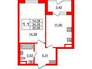 Квартира в ЖК Зеленый квартал на Пулковских высотах, 1 комнатная, 34.28 м², 1 этаж