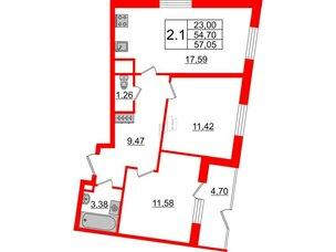 Квартира в ЖК Зеленый квартал на Пулковских высотах, 2 комнатная, 54.7 м², 1 этаж