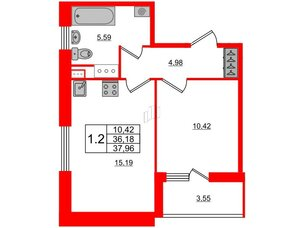 Квартира в ЖК Панорама парк Сосновка, 1 комнатная, 36.18 м², 2 этаж