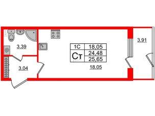 Квартира в ЖК Парадный ансамбль, студия, 24.48 м², 1 этаж