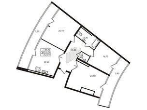 Квартира в ЖК «Стокгольм» / «STOCKHOLM», 3 комнатная, 109.8 м², 7 этаж