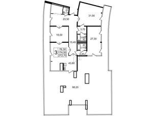 Квартира в ЖК «Стокгольм» / «STOCKHOLM», 3 комнатная, 172.9 м², 7 этаж