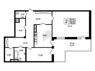 Квартира в ЖК Привилегия, 2 комнатная, 149.5 м², 1 этаж