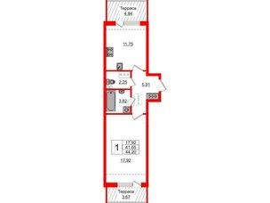 Квартира в ЖК Зеленый квартал на Пулковских высотах, 1 комнатная, 40.9 м², 5 этаж