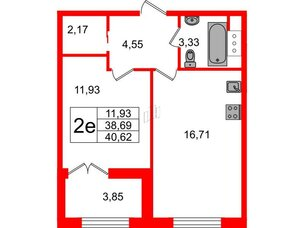 Квартира в ЖК Петровский Квартал на воде, 1 комнатная, 39.2 м², 5 этаж