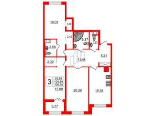 Квартира в ЖК Петровский Квартал на воде, 3 комнатная, 106.3 м², 6 этаж